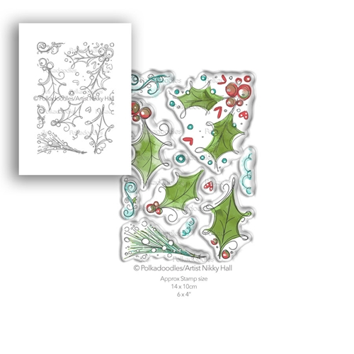 Polkadoodles HO HO HOLLY Clear Stamp Set pd7989 Preview Image