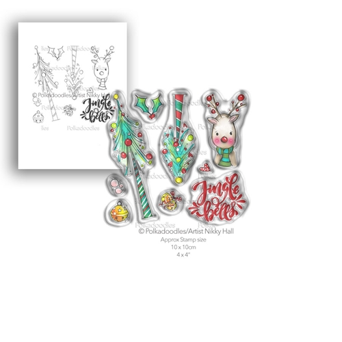 Polkadoodles JINGLE BELLS Clear Stamp Set pd7990 Preview Image