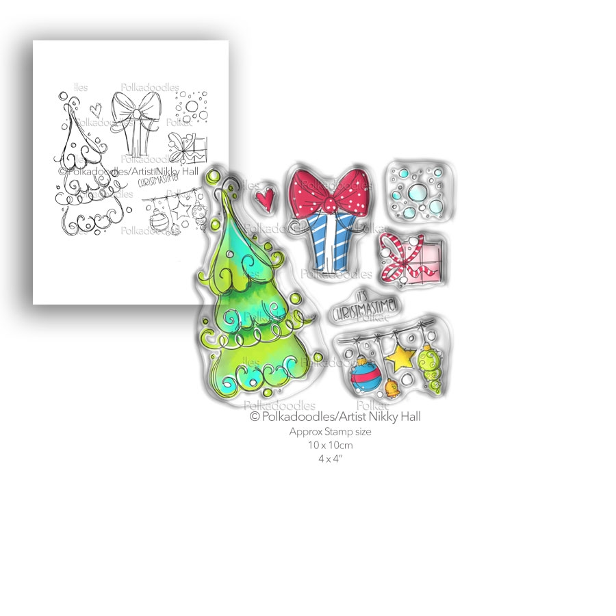 Polkadoodles CURLY CHRISTMAS Clear Stamp Set pd7991 zoom image
