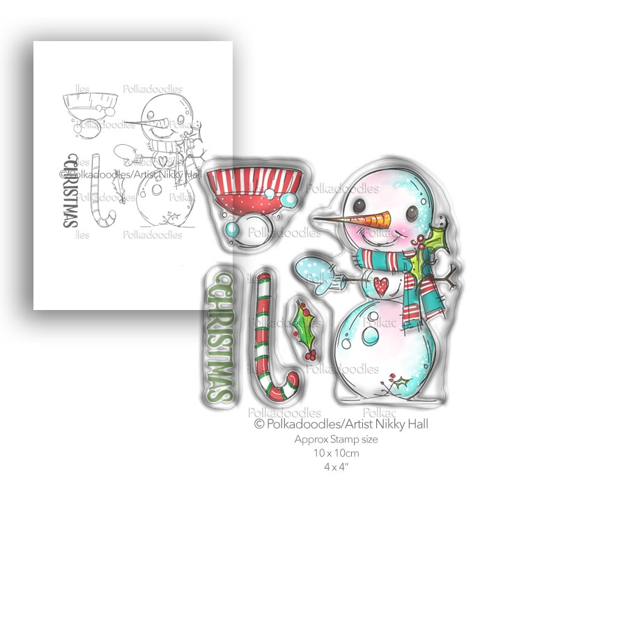 Polkadoodles SMILEY SNOWMAN Clear Stamp Set pd7993 zoom image