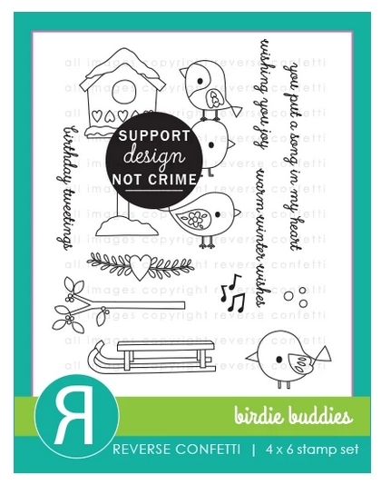 Reverse Confetti BIRDIE BUDDIES Clear Stamps  zoom image