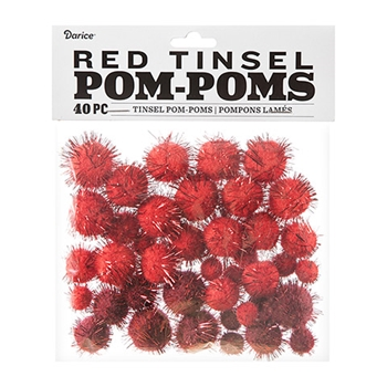 Darice RED TINSEL POM POMS 40 piece 30054150