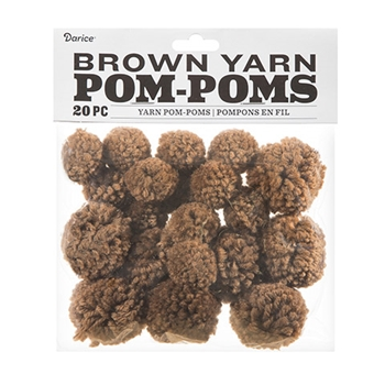 Darice BROWN YARN POM POMS 20 piece 30055547