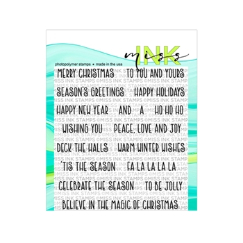 Miss Ink Stamps SEASON'S GREETINGS Clear Set n19st09