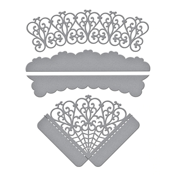 S4-1033 Spellbinders WOVEN TRELLIS CORNERS AND BORDER Etched Dies