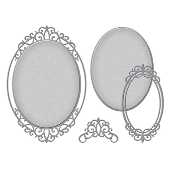 S4-1027 Spellbinders DOUBLE HALO OVAL Etched Dies