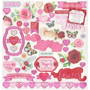 BoBunny COUNT THE WAYS 12 x 12 Chipboard Stickers 7310945*