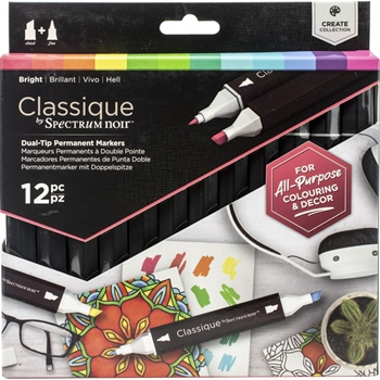 Crafter's Companion BRIGHT Classique Spectrum Noir Markers specn-cs12-bri