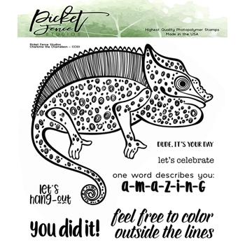 Picket Fence Studios CHARLOTTE THE CHAMELEON Clear Stamp Set cc101