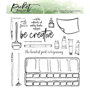 Picket Fence Studios I WORK FOR WATERCOLOR Clear Stamp Set art101