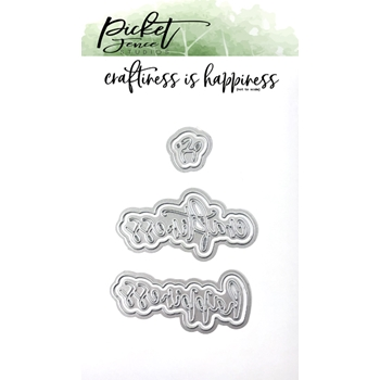 Picket Fence Studios CRAFTINESS IS HAPPINESS Word Dies pfsd130