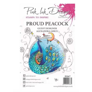 Pink Ink Designs PROUD PEACOCK A5 Clear Stamps pi047