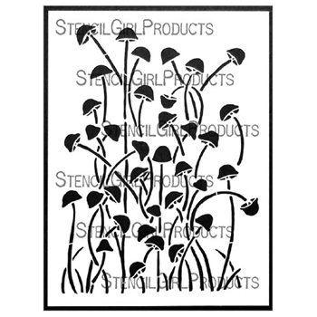 StencilGirl TALL SKINNY MUSHROOMS 9x12 Stencil l749