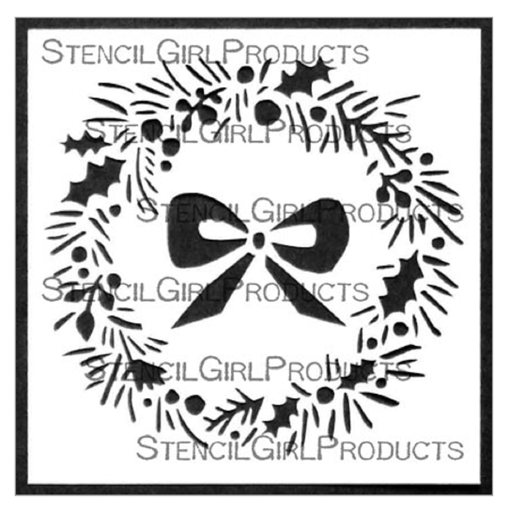 StencilGirl HOLIDAY WREATH AND BOW 4x4 Stencil m274 zoom image