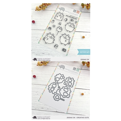 Mama Elephant Clear Stamp and Die MEPT721 Zodiac Ox SET Preview Image