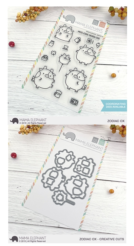 Mama Elephant Clear Stamp and Die MEPT721 Zodiac Ox SET zoom image