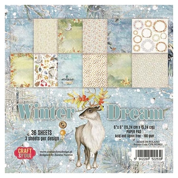 Craft & You Design WINTER DREAM 6x6 Paper Pad cpbwdr15