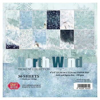 Craft & You Design NORTH WIND 6x6 Paper Pad cpbnw15