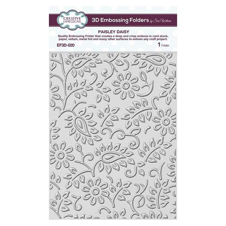 Creative Expressions PAISLEY DAISY 3D Embossing Folder by Sue Wilson ef3d020 zoom image