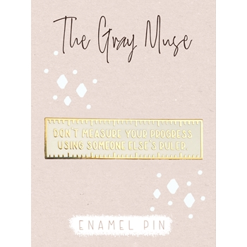 The Gray Muse PROGRESS RULER WHITE Enamel Pin tgm-n19-p80