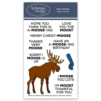 Technique Tuesday MORRIS THE MOOSE Clear Stamps 02815