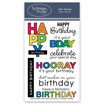 Technique Tuesday LARGE BIRTHDAY Clear Stamps 02818