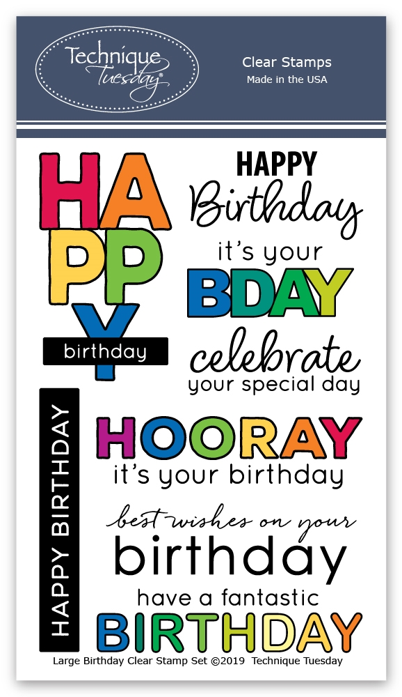 Technique Tuesday LARGE BIRTHDAY Clear Stamps 02818 zoom image
