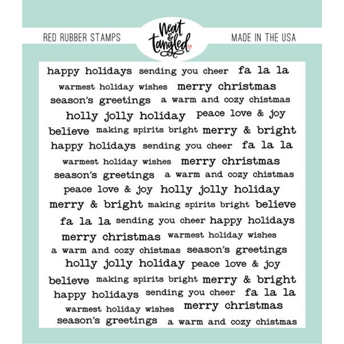 Neat and Tangled HOLIDAY WISHES Red Rubber Cling Stamp NAT493 Preview Image