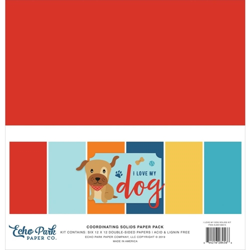 Echo Park I LOVE MY DOG 12 x 12 Double Sided Solids Paper Pack lmd198015 Preview Image