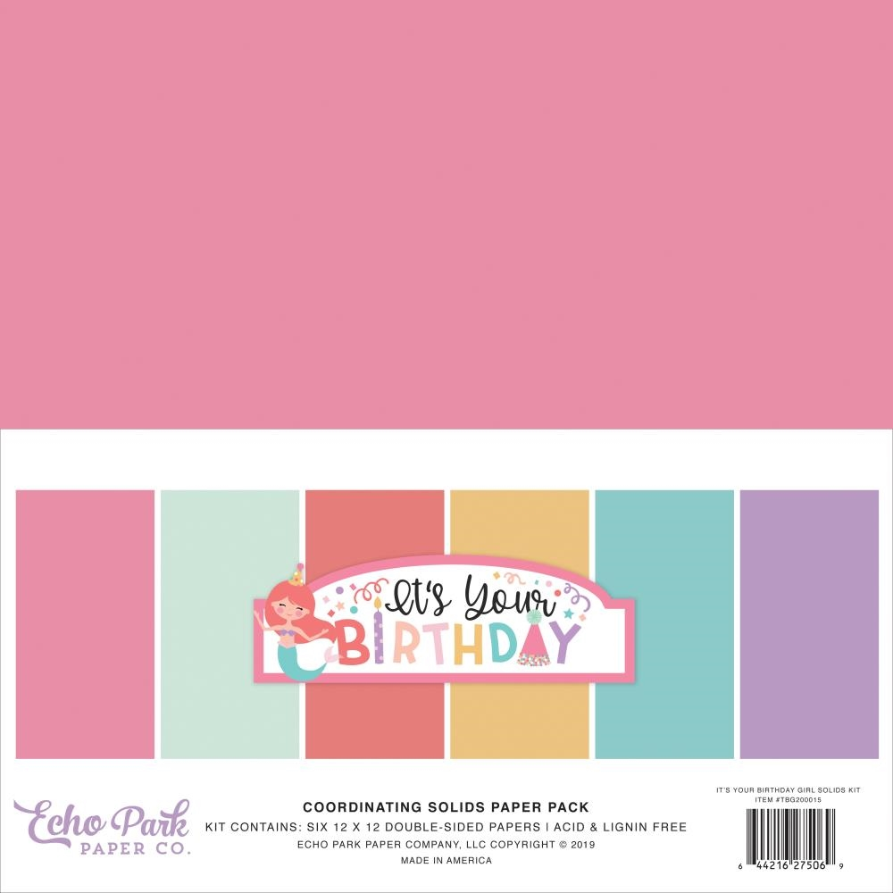 Echo Park IT'S YOUR BIRTHDAY GIRL 12 x 12 Double Sided Solids Paper Pack tbg200015 zoom image