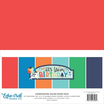 Echo Park IT'S YOUR BIRTHDAY BOY 12 x 12 Double Sided Solids Paper Pack ybb201015