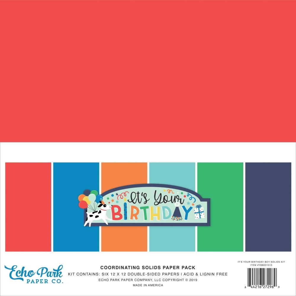 Echo Park IT'S YOUR BIRTHDAY BOY 12 x 12 Double Sided Solids Paper Pack ybb201015 zoom image