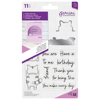 Crafter's Companion PEEK-A-BOO CAT Gemini Stamp And Die Set gem-std-pabcat