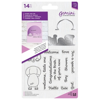 Crafter's Companion PEEK-A-BOO ELEPHANT Gemini Stamp And Die Set gem-std-pabele