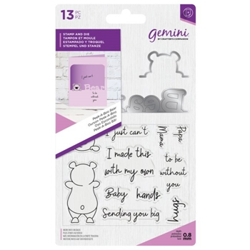 Crafter's Companion PEEK-A-BOO BEAR Gemini Stamp And Die Set gem-std-pabbear