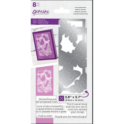 Crafter's Companion DANCING BUTTERFLIES Gemini Stamp And Die Set gem-std-dbu Preview Image