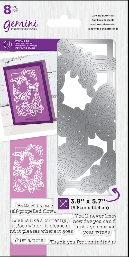 Crafter's Companion DANCING BUTTERFLIES Gemini Stamp And Die Set gem-std-dbu zoom image