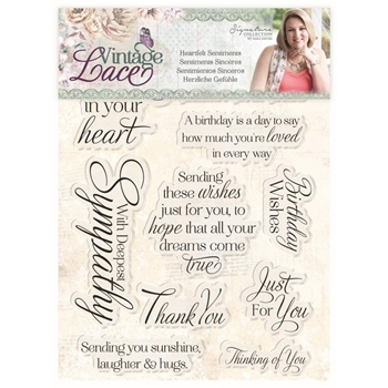 Crafter's Companion HEARTFELT SENTIMENTS Vintage Lace Clear Stamps s-vl-st-hese