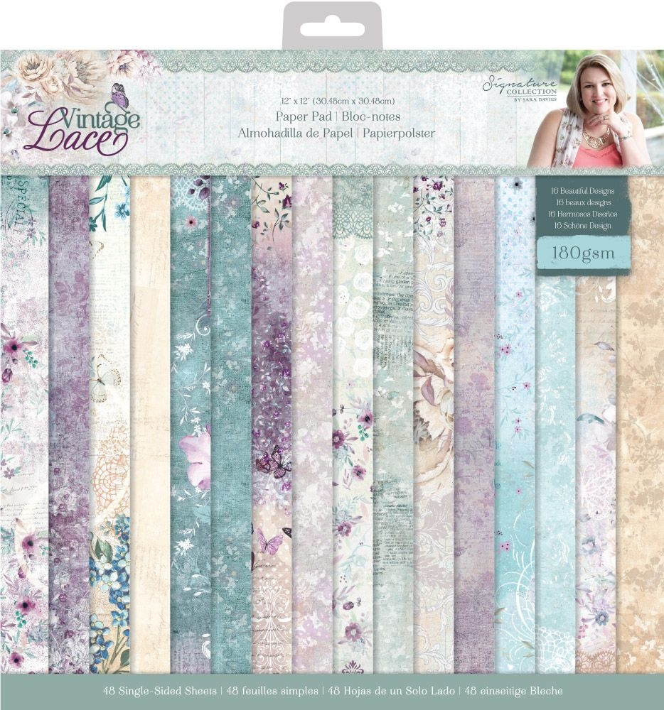 Crafter's Companion VINTAGE LACE 12 x 12 Paper Pad s-vl-pad12 zoom image