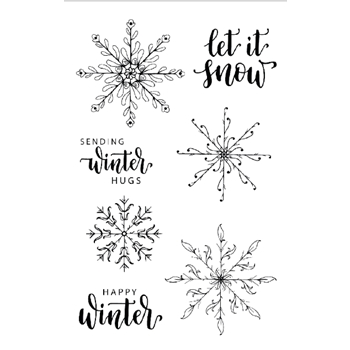 Gina K Designs FOLK ART SNOWFLAKES Clear Stamps 0336