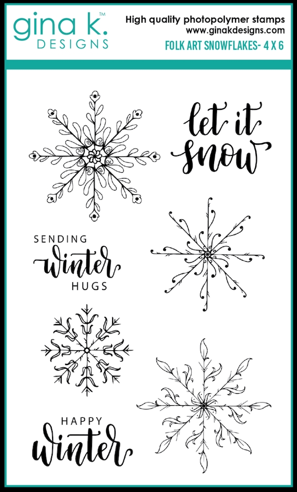Gina K Designs FOLK ART SNOWFLAKES Clear Stamps 0336 zoom image