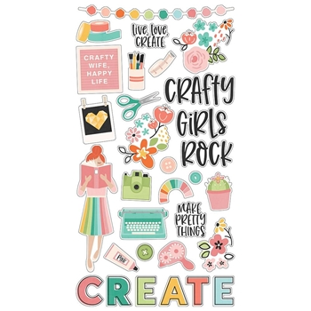 Simple Stories HEY CRAFTY GIRL 6 x 12 Chipboard Stickers 11922