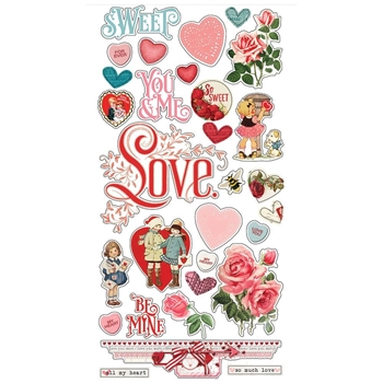 Simple Stories MY VALENTINE 6 x 12 Chipboard Stickers 11823