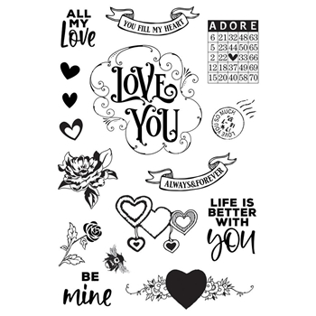 Simple Stories MY VALENTINE Clear Stamp Set 11829