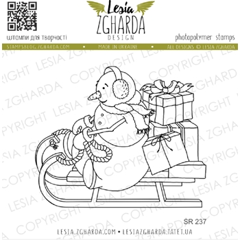 Lesia Zgharda SNOWMAN ON SLED Clear Stamp sr237