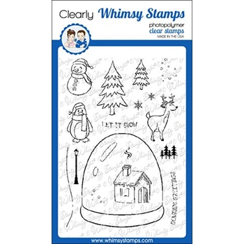 Whimsy Stamps GLITTER GLOBE Clear Stamps CWSD296