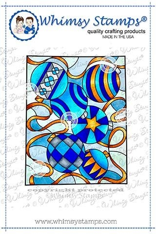 Whimsy Stamps STAINED GLASS ORNAMENTS Cling Stamp SGD109 Preview Image
