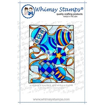 Whimsy Stamps STAINED GLASS ORNAMENTS Cling Stamp SGD109