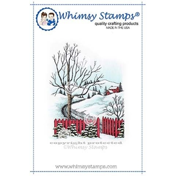Whimsy Stamps SNOW ROAD Cling Stamp DA1133
