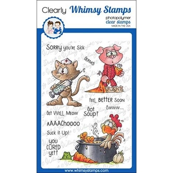 Whimsy Stamps GET WELL Clear Stamps DP1033